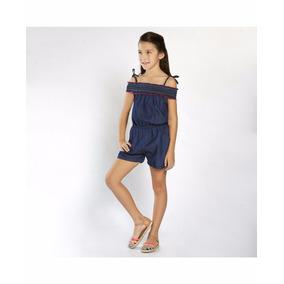 Palaxo 12223 Short Jumpsuit Mezclilla Niña 8-12 Playa Cas