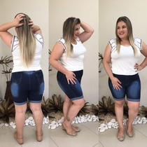 Shorts Bermuda Jeans Plus Size Hot Pants Lycra E Elastano