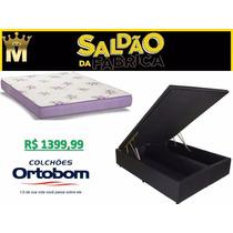 Cama Baú Bipart Casal 138x188 +colchão Espuma Ortobom Brasil