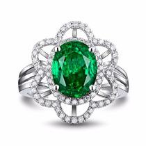 Anillo Flor Jade Verde Y Zirconias Cubíca Amour Plata 925