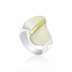 Anel Feminino Prata 950 Com Madrepérolas E Detalhes Ouro
