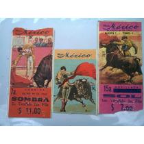 Lote 3 Boletos De Toros Plaza México Antiguos De Colección 1