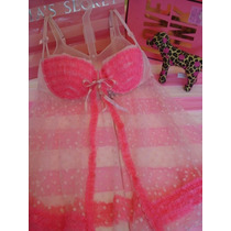 Victorias Secret The Pink Polka Dots Push Up Baby Doll Sz 36