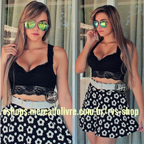 Blusinha Top Cropped Mini Blusa Renda Panicat C/ Bojo!