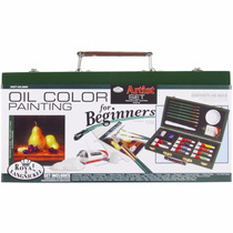 Estuche Oleo Pinceles Arte 26 Piezas Pintura Cuadros Colores