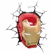 Luminária Homem De Ferro Iron Mascara 3d Light Fx