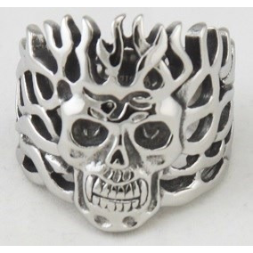 Anillo Craneo Calavera Flamas Acero Inoxidable Bikers Rock