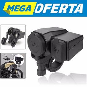 Tomada 12v E 5v Usb Carregador De Celular E Gps Moto Carrega