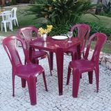 Jogo Mesa + 4 Cadeiras Plástica Bistrô S/ Apoio Braço Vinho