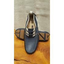 Zapatos Boating De Cuero Náuticos Azules. Nuevos