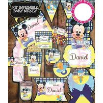 Kit Imprimible Baby Shower Mickey Bebe Mesa De Dulces Postre