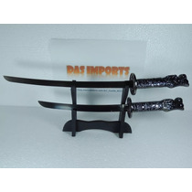 Kit Espada Katana Samurai Cabeça De Dragão Com Suporte