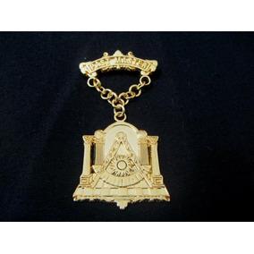 Medalla Past Master Masonica Sencilla En Metal Dorado