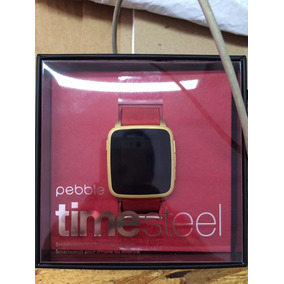 Reloj Pebble Time Steel Version Kickstarterdorado De Metal
