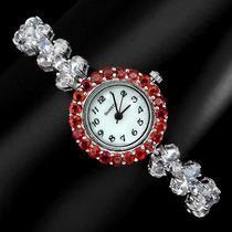 Relógio Feminino Safiras E Pedras Da Lua Prata 925