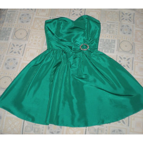 Vestido De Fiesta Verde Corto Strapless