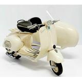Miniatura Moto Vespa Com Sidecar Branca 1/6