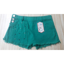 Shorts Saia Sarja Colorida Ref. 2225 Adulto Ao Plus Size