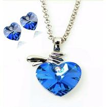 Collar Y Aretes Corazón Cristal Swarovski Certificado Regalo