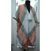 Poncho Tejido Telar Crochet Moahir