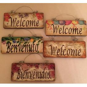 2 Letreros Bienvenido Welcome Vintage Bolo Recuerdo Regalo