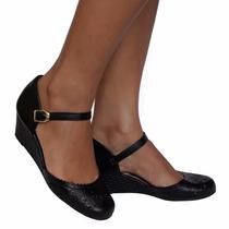 Sapato Feminino Boneca Preto Salto Anabela Ultra Conforto