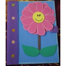 Libreta Decorada Con Foamy (figura Flor) Manualidad