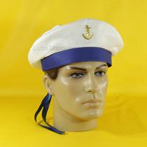 Quepe Marinheiro Boina Fita Azul Chapéu Militar Marinheiro