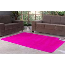 Tapete Pelúcia 1,00m X 1,40m Para Sala Quarto Pink Grande