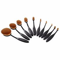 Kit Com 10 Pincéis Oval Escovinha Preto Profissional Make Up