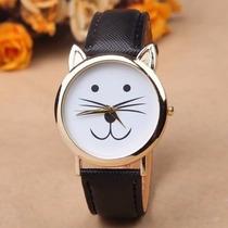 Reloj En Forma De Gato Kitty Dorado Color Negro