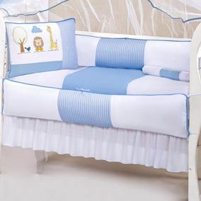 Kit De Berço Baby 9 Pçs 100% Algodão Safari Azul