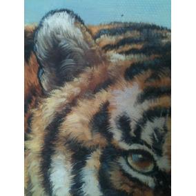 Tigre- Öleo- Cuadro- Pintura-vintage