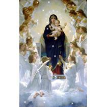 Lienzo Tela Virgen Niño Jesús Y Ángeles Arte Sacro 75 X 118