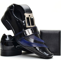 Sapato Social Masculino Couro Envernizado+cinto+carteira Kit