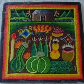 Arte Huichol Cuadro Madera Y Estambre +envio Dhl Gratis
