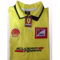 Camisa Camiseta Roupa Gola Polo Ferrari Masculina Bordada