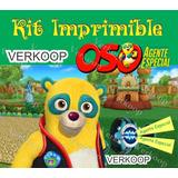Kit Imprimible Oso Agente Especial Invitaciones Tarjetas