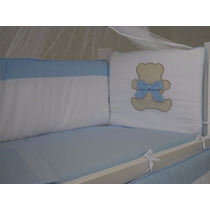 Kit Mini Berço Bordado Urso Teddy Azul 7 Peças Canaa