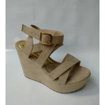 Zapatos Mujeres Sandalia Color Beige Dama Plataforma Moda