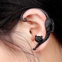 Brinco Ear Cuff Gato Punk Gothic Rock Emo Preto 1 Unidade