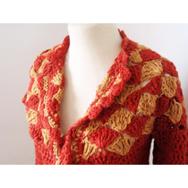 Saco Tejido A Crochet Color Terracota Y Ocre, Talle M(42/44)