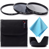 Kit De Filtros 52mm Cpl + Uv + Nd4 + Parasol + Estuche +paño