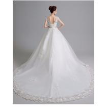Vl19 Vestido De Noiva Lindo Com Cauda Renda Pedra Importado