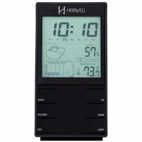 Relogio Despertador Mesa Temperatura Data Herweg 2969 Preto