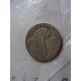 Moneda Cuarto De Dólar Antiguo De Plata