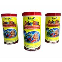 3 Potes Tetra Color Tropical 300 G Color Bits Fish Ornament