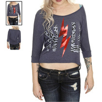 Hot Topic Blusa Wild Heather Blue Hi-lo Sweater Top M