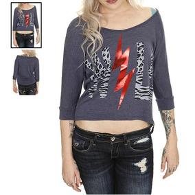 Hot Topic Blusa Wild Heather Blue Hi-lo Sweater Top M