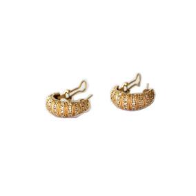 Aretes Oro 14k Forma Arracada Chispas De Brillantes 9.4 Gr